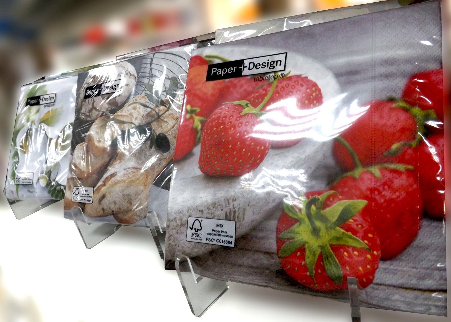 Бумажные салфетки от Paper+Design в прозрачных упаковках с изображениями клубники, хлеба и цветов
